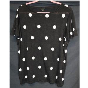 Ann Taylor Black & White Polka Dot T-Shirt XXL